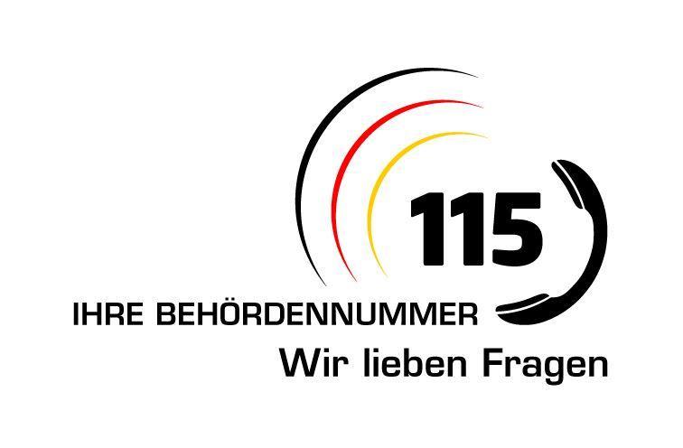 Externer Link zur 115 - Ihrer Behördennummer - Wir lieben Fragen; Bild zeigt das Logo, welches aus einem Telefon und den Zahlen 115 besteht