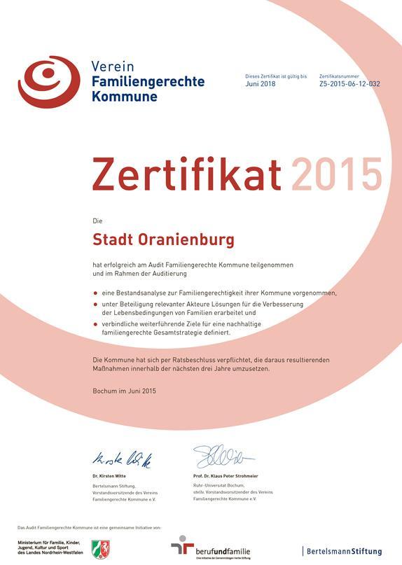 Zertifikat »Familiengerechte Kommune« Oranienburg