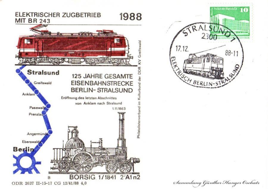 Elektrischer Zugbetrieb mit BR 243 1988  125 Jahre Gesamte Eisenbahnstrecke Berlin-Stralsund