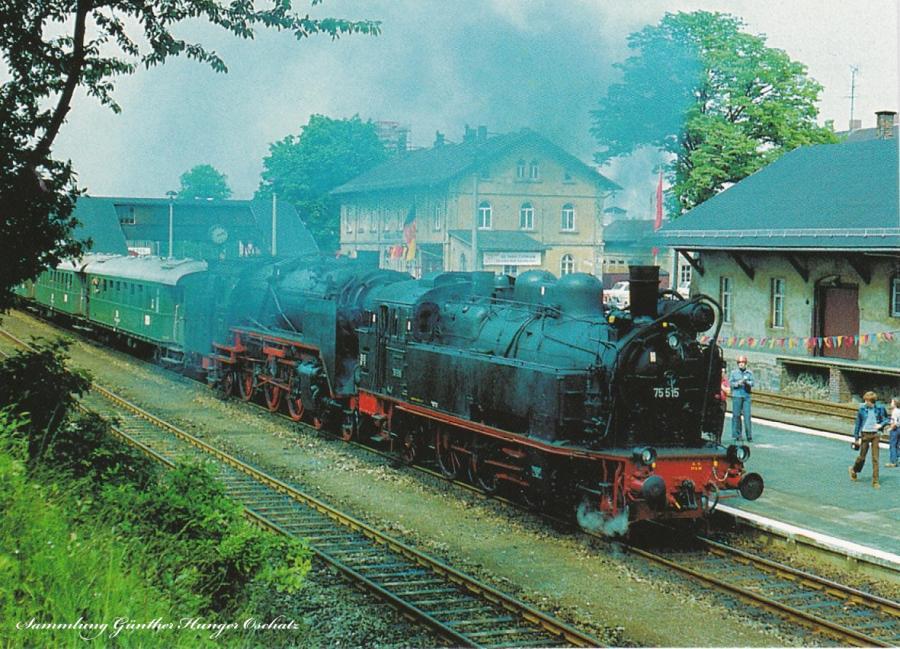 """Museumslokomotiven 62 015 + 75 515 mit einem Sonderzug anlässlich """"125 Jahre Eisenbahn in Karl-Marx-Stadt"""""""