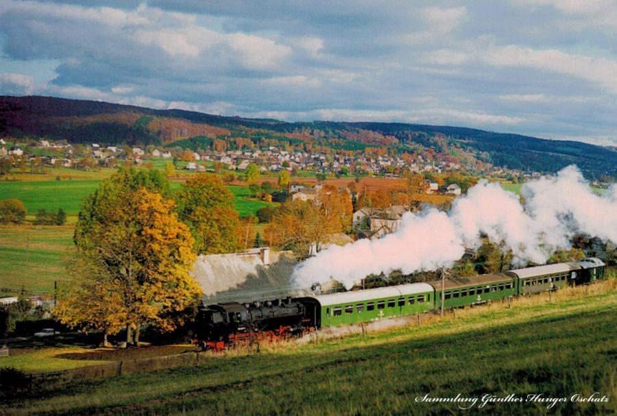 Güterzugtenderlokomotive 86 1049 mit VSE- Sonderzug auf der Flöhatalbahn zwischen Olbernhau und Blumenau