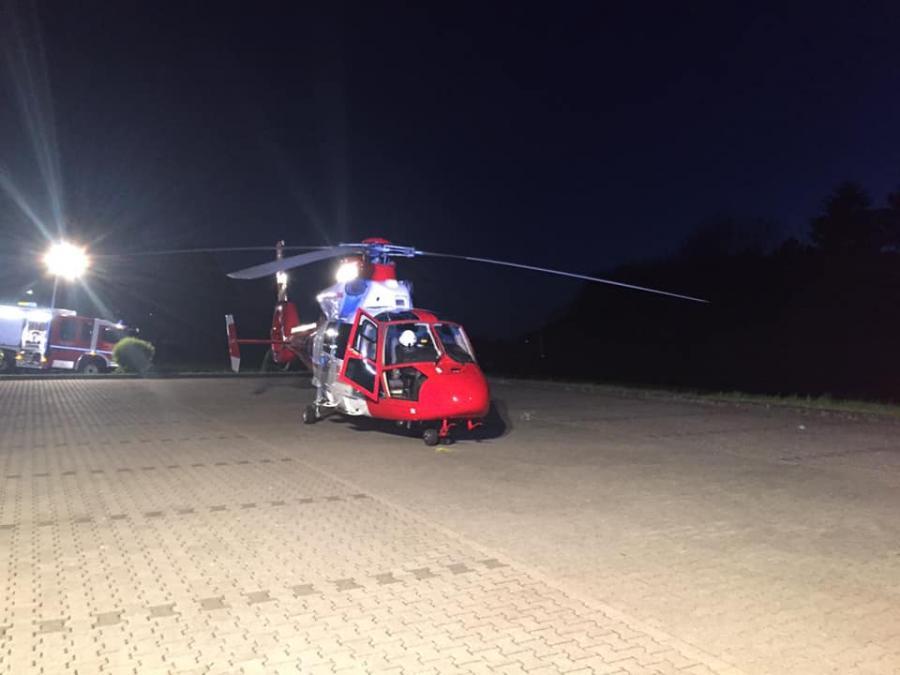 Gelandeter Rettungshubschrauber Christoph Giessen