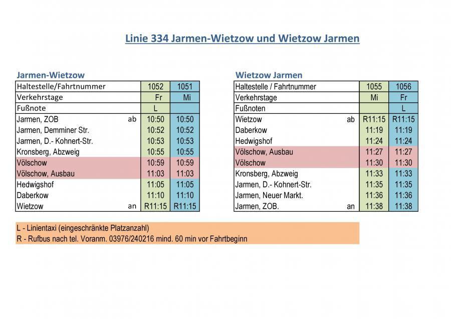 Linie 334 Jarmen-Wietzow und Wietzow Jarmen