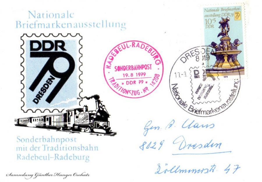 Nationale Briefmarkensammlung  Sonderbahnpost mit Traditionsbahn Radebeul-Radeburg
