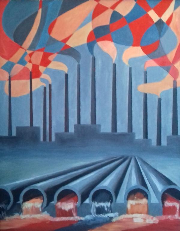 Industrielandschaft II1986 Öl auf Hartfaser49 x 62 cm