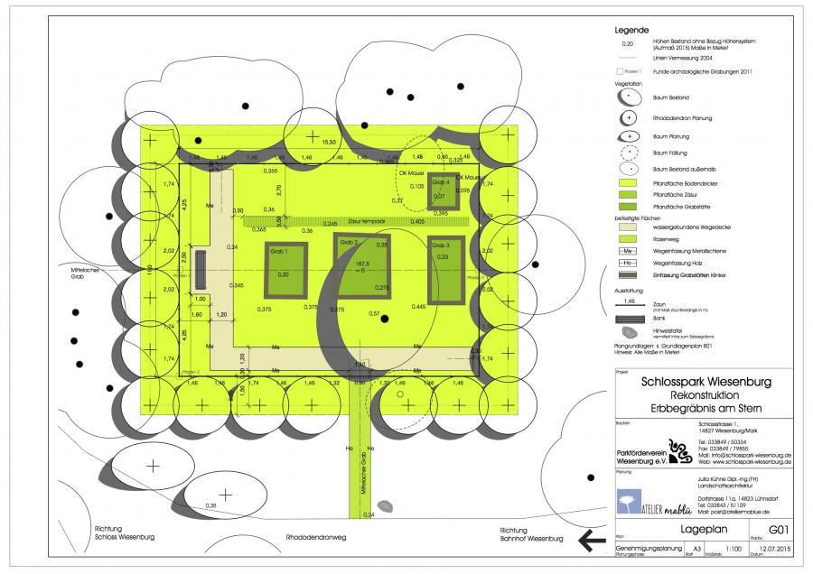 So soll das Erbbegräbnis künftig aussehen. Der Entwurf mit Gräbern, Weg, Bank, Zaunanlage und umgebenden Rhododendronpflanzungen. Plan von Julia Baumgarten
