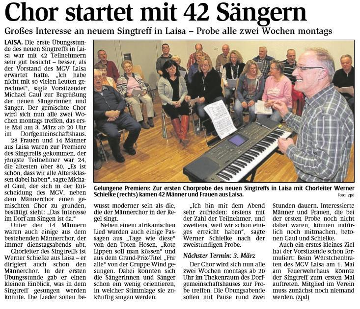 Gründung Singtreff 2013