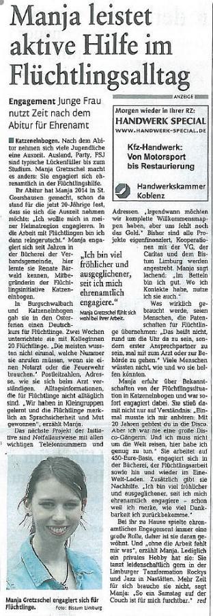 Manja Gretzschel, Abiturientin 2014: Ehrenamtlicher Einsatz in der Flüchtlingshilfe