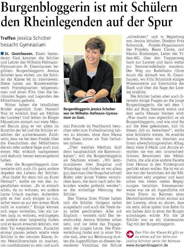 Die Burgenbloggerin am Wilhelm-Hofmann-Gymnasium