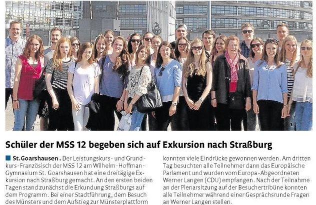 Wilhelm-Hofmann-Gymnasium erneut im Europaparlament