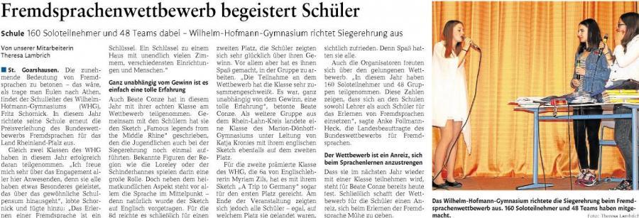 Bundeswettbewerb Fremdsprachen am Wilhelm-Hofmann-Gymnasium