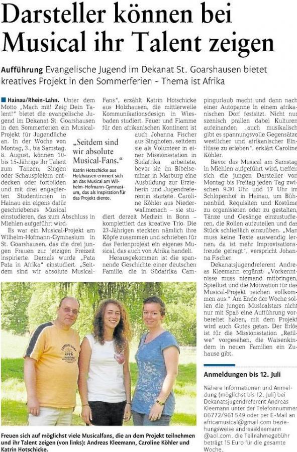 Musical-Projekt am Wilhelm-Hofmann-Gymnasium zieht Kreise