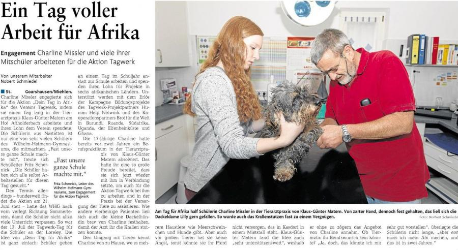 Charline Missler verbringt den Tag für Afrika in der Tierarztpraxis Matern in Miehlen