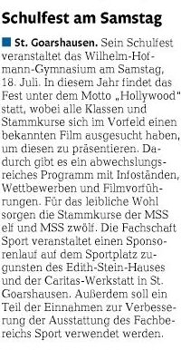 Einladung zum Schulfest am Wilhelm-Hofmann-Gymnasium
