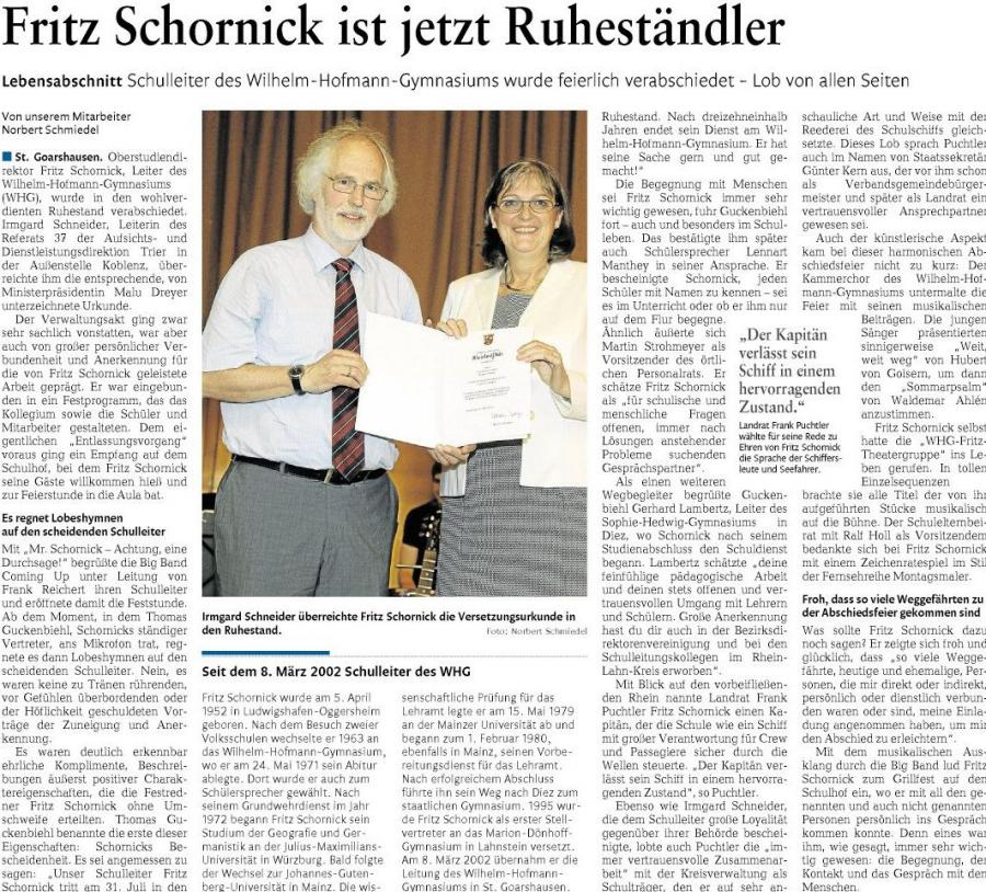 Fritz Schornick tritt in den Ruhestand
