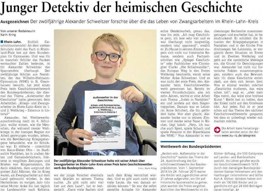 Alexander Schweizer beim Geschichtswettbewerb des Bundespräsidenten erfolgreich