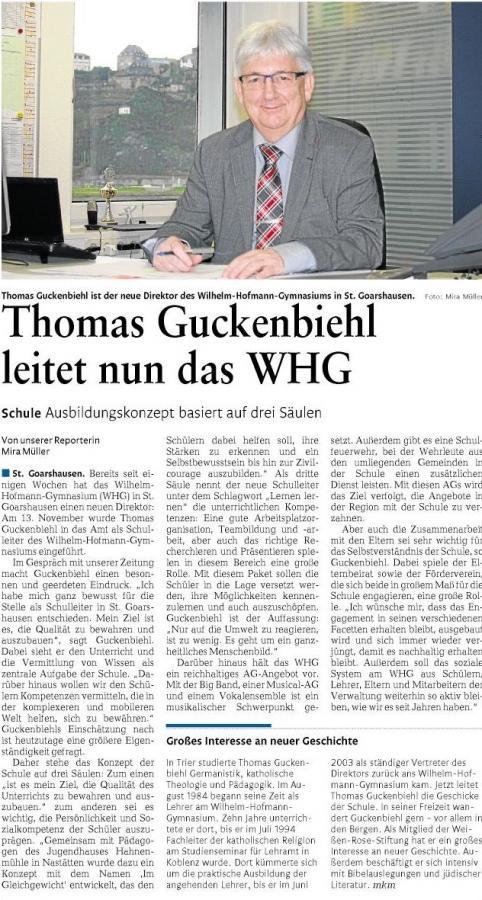 Thomas Guckenbiehl ist neuer Schulleiter des Wilhelm-Hofmann-Gymnasiums