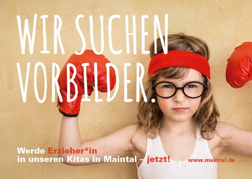 Bild zeigt ein Kind mit Boxhandschuhen und den Text: Wir suchen Vorbilder. Werde Erzieher*in in unseren Kitas in Maintal - jetzt!