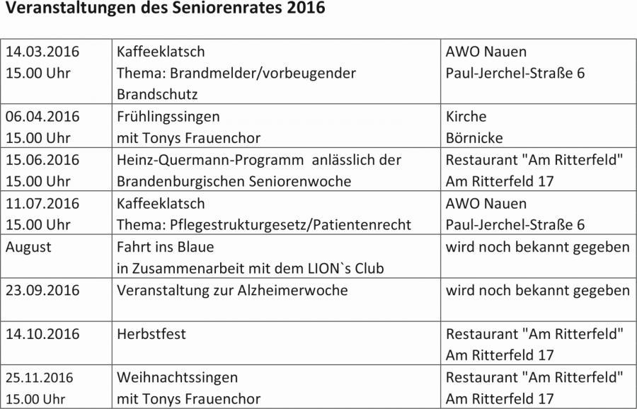 Programm Seniorenrat 2016