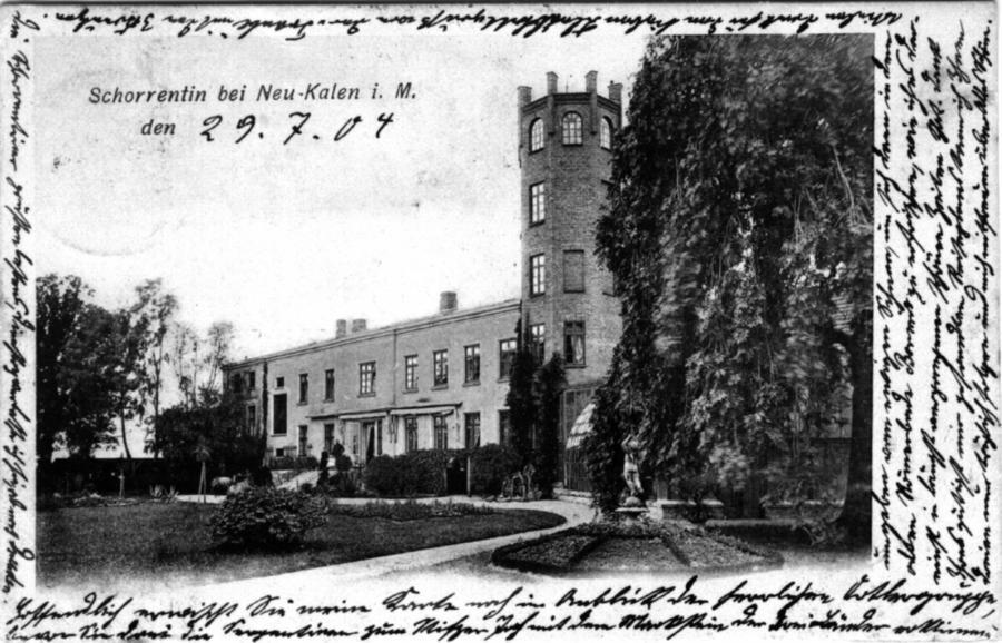 Ansichtskarte des Gutshauses in Schorrentin von 1904 oder früher
