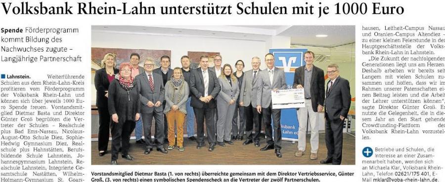 Spenübergabe Volksbank Rhein-Lahn
