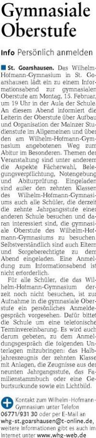 Gymnasiale Oberstufe am Wilhelm-Hofmann-Gymnasium