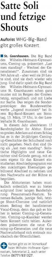 Big Band-Konzert am Wilhelm-Hofmann-Gymnasium