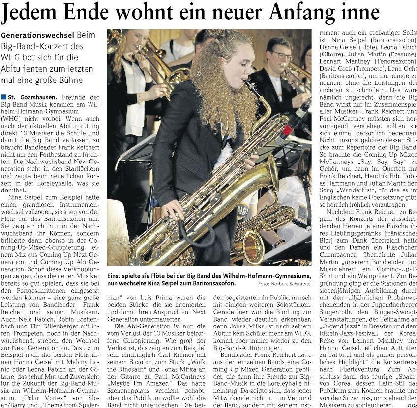 Big Band Konzert am Wilhelm-Hofmann-Gymnasium