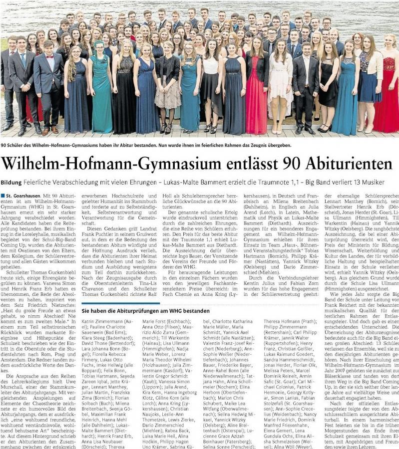 Die Abiturientia 2016 des Wilhelm-Hofmann-Gymnasiums