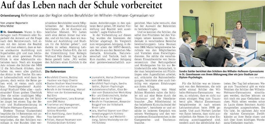 Tag der Berufs- und Studienorientierung am Wilhelm-Hofmann-Gymnasium