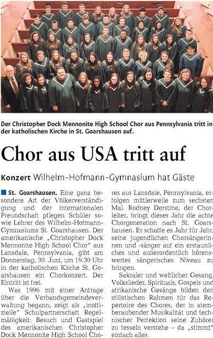 Christopher-Dock-Chor am Wilhelm-Hofmann-Gymnasium