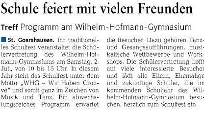Wilhelm-Hofmann-Gymnasium: Schulfest