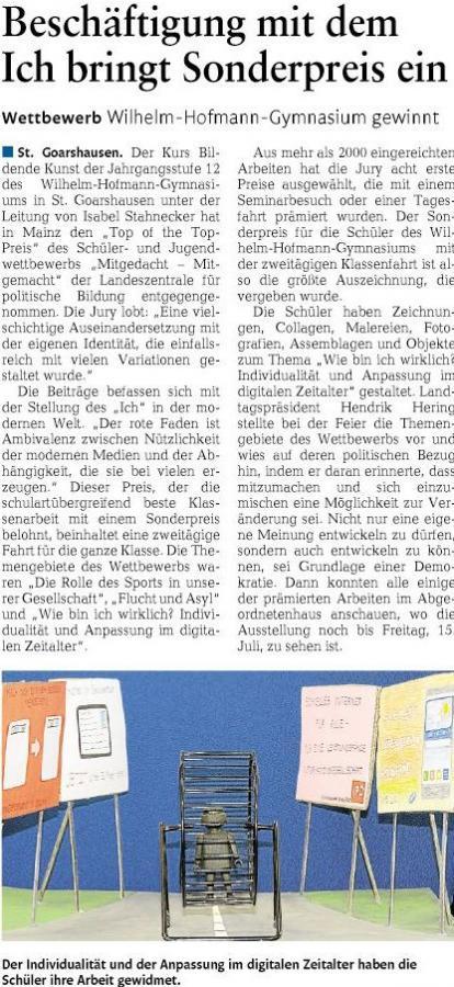 Wilhelm-Hofmann-Gymnasium gewinnt Sonderpreis beim Wettbewerb der Landeszentrale für politische Bildung