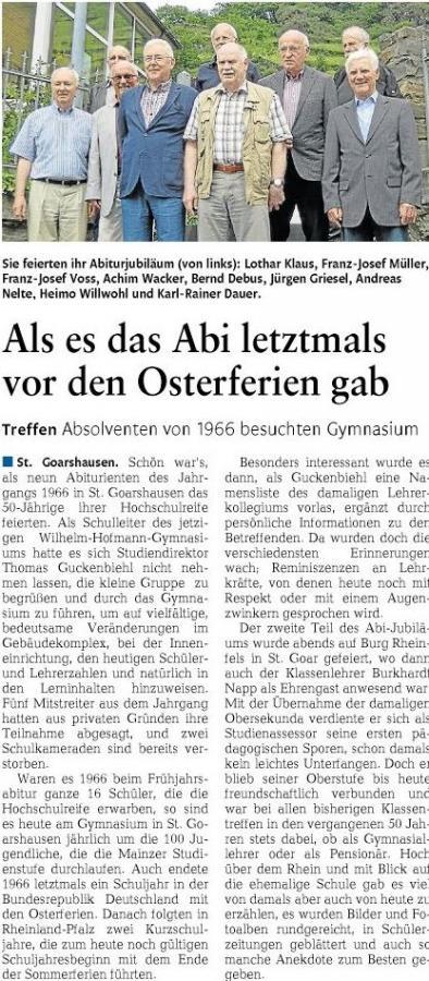 Die Abiturientia 1966 am Wilhelm-Hofmann-Gymnasium