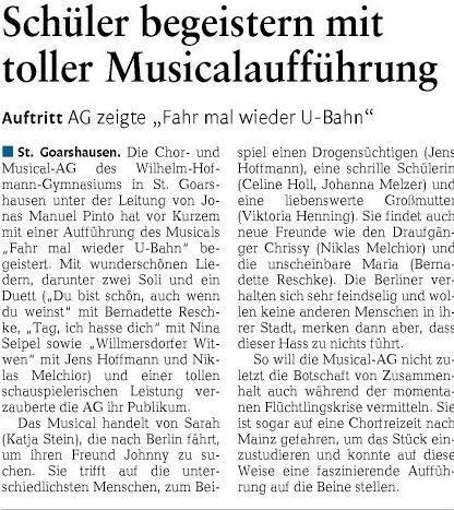 Musical am Wilhelm-Hofmann-Gymnasium