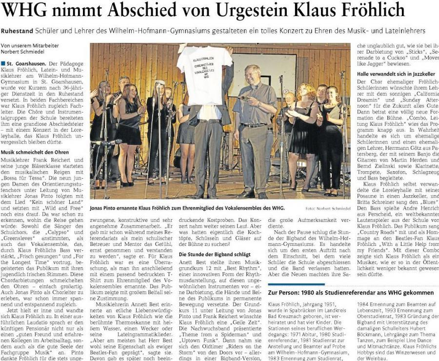 Wilhelm-Hofmann-Gymnasium: Schulkonzert und Abschiedskonzert für Klaus Fröhlich
