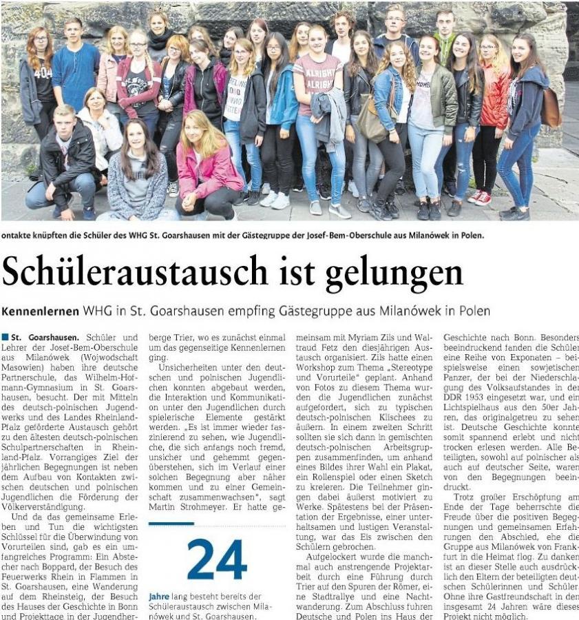 Deutsch-polnische Partnerschaft am WHG