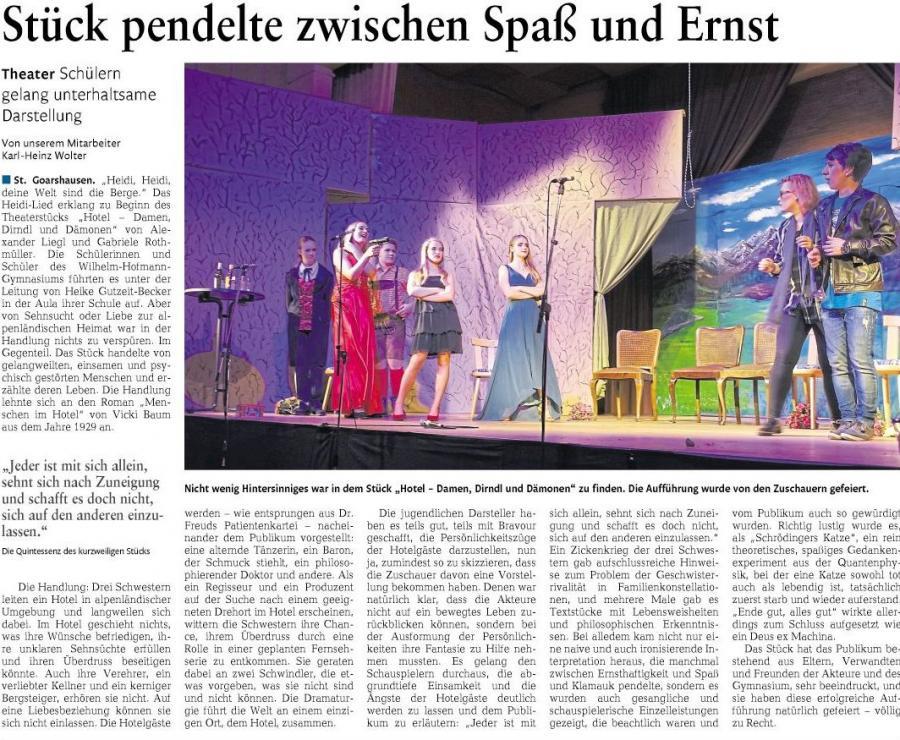"""Theateraufführung """"Das Hotel: Damen, Dirndl und Dämonen"""""""