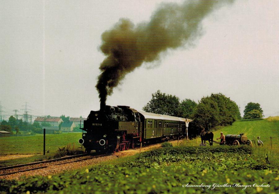 Güterzugdampflokomotive 86 1501 mit Sonderzug zwischen Kändler und Röhrsdorf