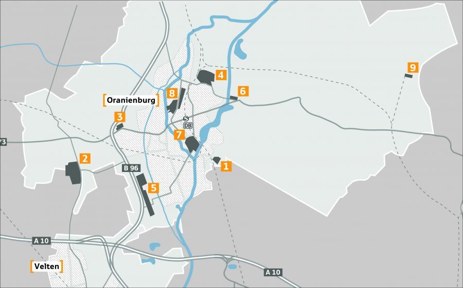 Übersicht Gewerbegebiete Oranienburg (2017)