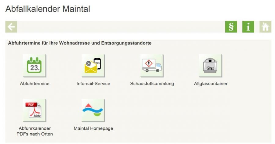 Externer Link zum Digitalen Abfallkalender auf Müllmax.de; Bild zeigt den Abfallkalender der Stadt Maintal; Hier finden Sie: Abfuhrtermine, Infomail-Service, Schadstoffsammlung, Altglascontainer und den Abfuhrkalender in PDF´s nach Orten