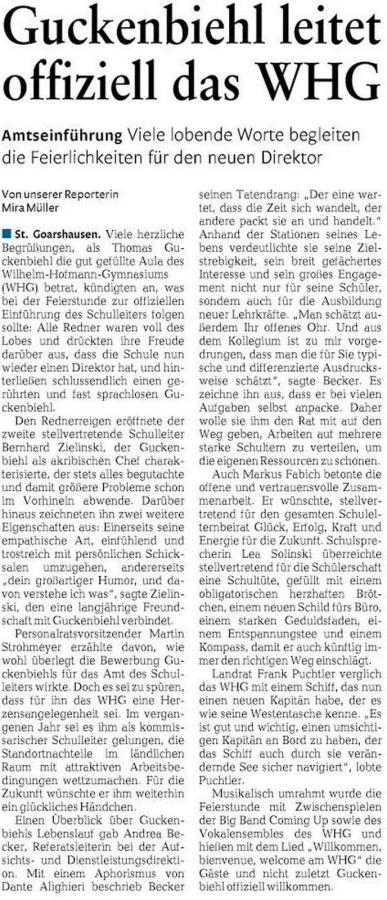 Frau Mira Müller, Rhein-Lahn-Zeitung, berichtet über die Einführungsfeier von Herrn Guckenbiehl