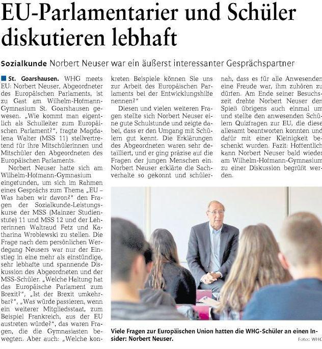 Besuch Norbert Neuser am WHG