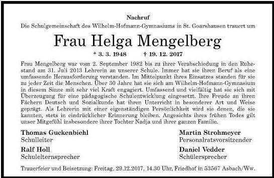 Nachruf Helga Mengelberg