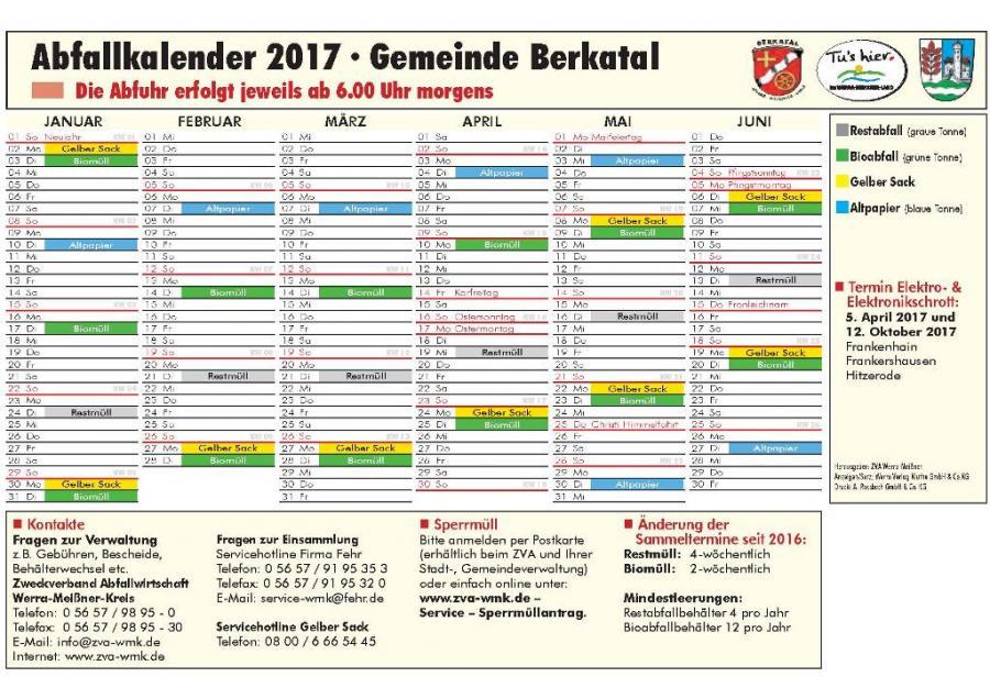 Abfallkalender 1. Halbjahr 2017