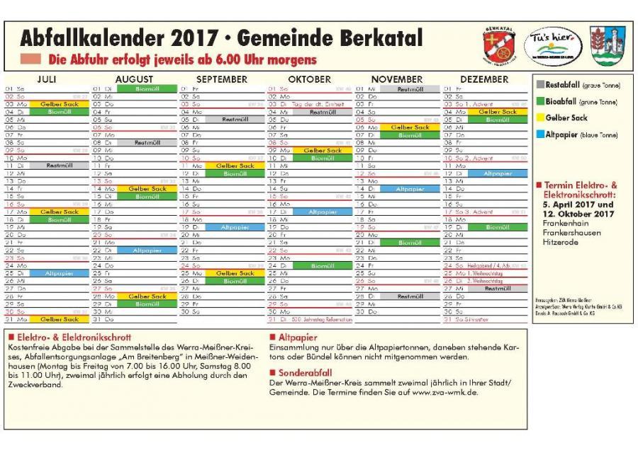 Abfallkalender 2. Halbjahr 2017