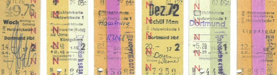 Fahrkarten vom Bahnhof Holzwickede, im Edmonsonschen Format