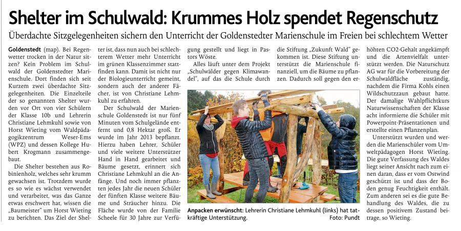 Shelter im Schulwald - Bericht der OV vom 26.11.2018