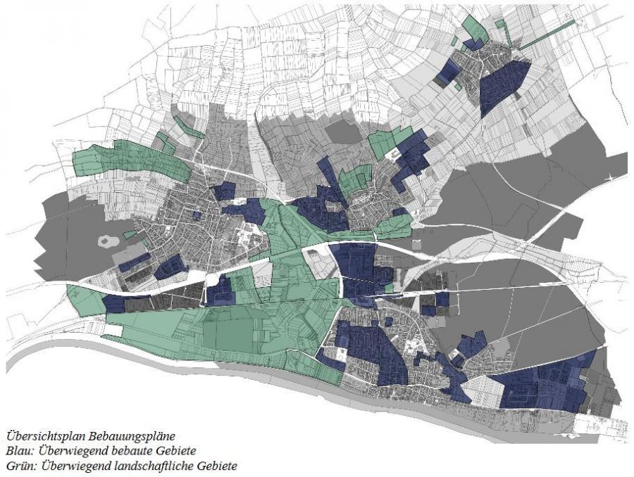 Bild zeigt den Übersichtsplan Bebauungspläne, sowie den Text: Blau - überwiegend bebaute Gebiete; Grau - überwiegend landschaftliche Gebiete; Bild: Ammon und Sturm