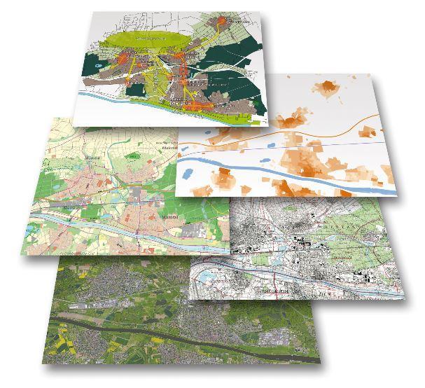 Externer Link zum Integierten Stadtentwicklungskonzept; Bild zeigt verschiedene Pläne übereinander gelegt; Bild: Ammon und Sturm